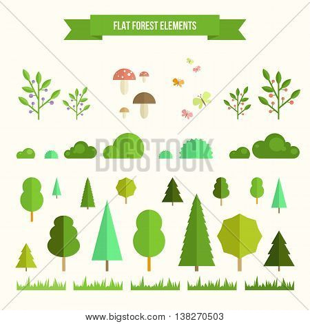 Trendy and beautiful set of flat forest elements. Include grass mushrooms berries bushes and trees