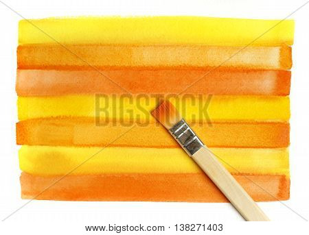 Color bright striped watercolor background and brush
