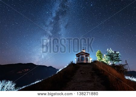 Milky Way over a small chapel in Rodopi Mountain (Bulgaria)