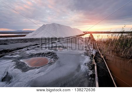 Beautiful landscape with sunset and salt Production in Burgas (bulgaria)