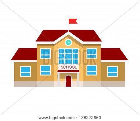 Vector flat illustration of school building, on white .