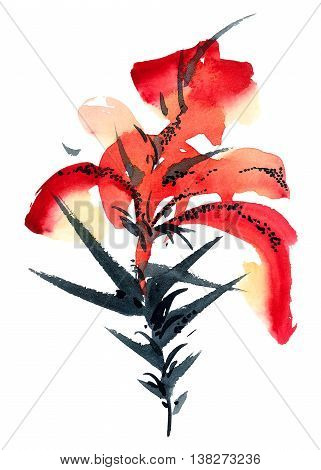 Lily. Watercolor and ink painting in style gohua sumi-e u-sin. Oriental traditional painting.