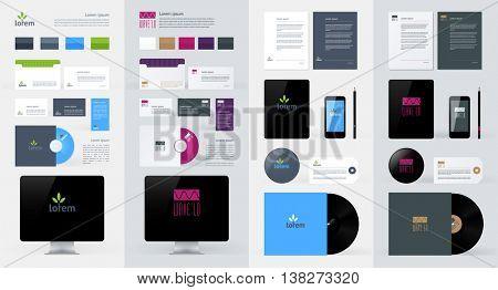 Stationery, Branding Mock-Up template. Vector illustration.