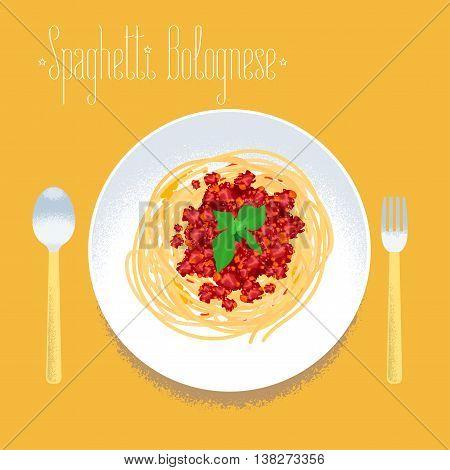 Spaghetti Italian pasta vector design element for menu poster. Traditional Italian spagetti bolognese served for dining illustration