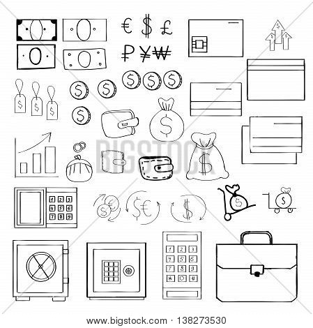 Hand drawn set of money related vector icons for your design.
