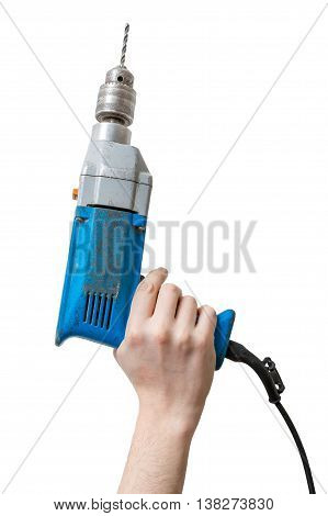 Caucasians Man's Hand Holds Drill. Maintenance Concept.