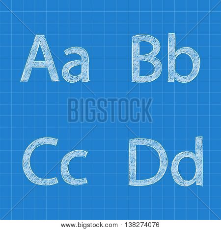 Sketched letters A B C D on blueprint background. Vector illustration.