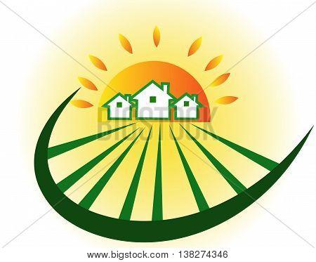 Farm houses  with sun, vector,  isolated on background