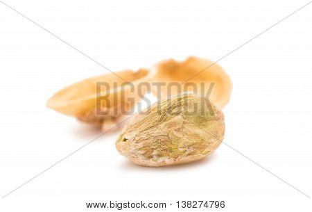 pistachios nut, nutshell  isolated on white background