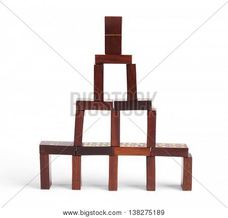 Dominoes tower, isolated on white