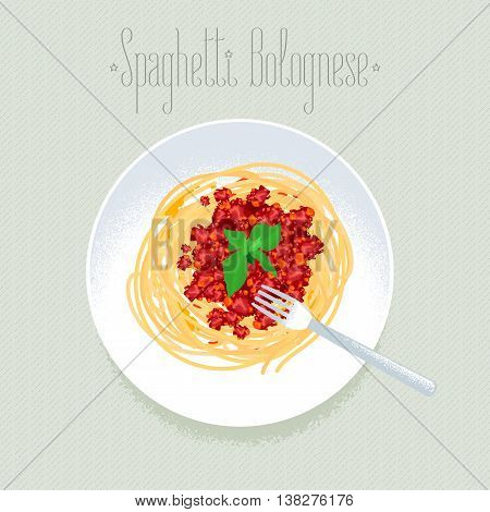 Spaghetti Italian pasta vector design element for menu poster. Traditional Italian dish spagetti bolognese served for dinner illustration