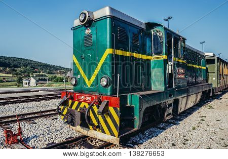Sargan Vitasi Serbia - August 28 2015. Old Romanian locomotive narrow gauge railway called Sargan Eight at Sargan Vitasi station