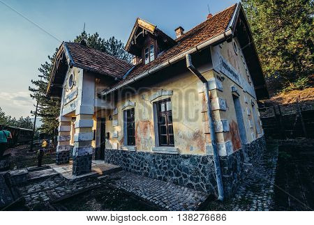 Golubici Serbia - August 28 2015. Old railway station in Golubici of narrow gauge railway called Sargan Eight running from the village of Mokra Gora to Sargan Vitasi