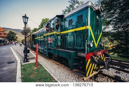 Mokra Gora Serbia - August 28 2015. Old Romanian locomotive narrow gauge railway called Sargan Eight at Mokra Gora station