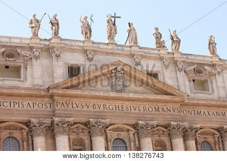 Vatican city. Basilica. Fragments of St. Peter's Square. Italy, Rome.
