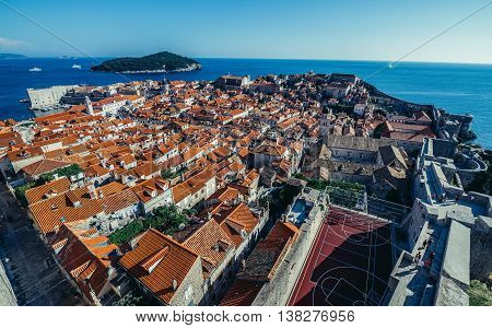 Dubrovnik Croatia - August 26 2015. Aerial view of Dubrovnik Old Town. Lokrum Island on background