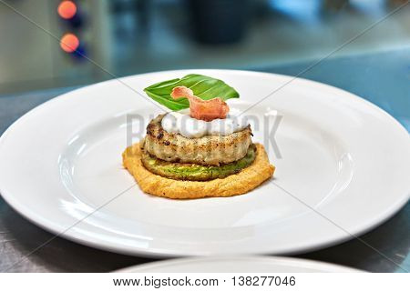 Dish With Fish Cutlet