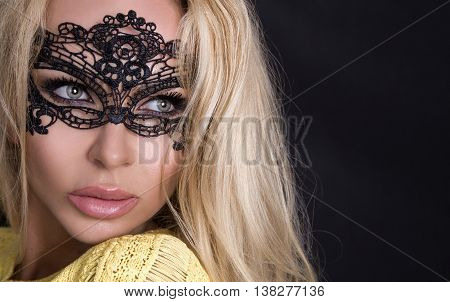 Portrait Of The Beautiful Blond Hair Sexed Women Of Young Girl Model In A Black Mask Carnival Ball I