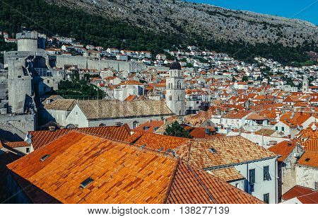 Dubrovnik Croatia - August 26 2015. View from the Walls of Dubrovnik. Minceta Tower on the left side