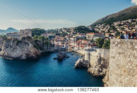 Dubrovnik Croatia - August 26 2015. St Lawrence Fortress also known as Fort Lovrijenac seen from the Walls of Dubrovnik