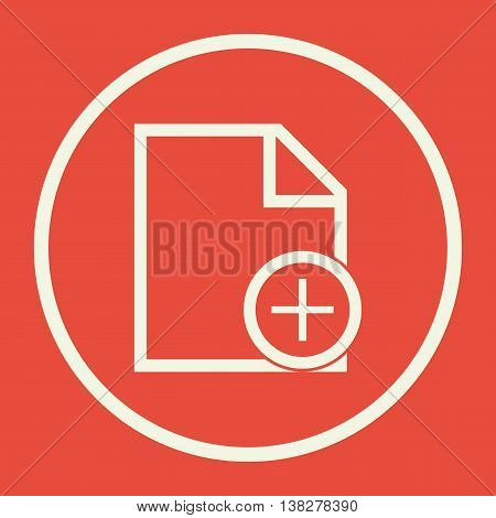 File Add Icon In Vector Format. Premium Quality File Add Symbol. Web Graphic File Add Sign On Red Ba