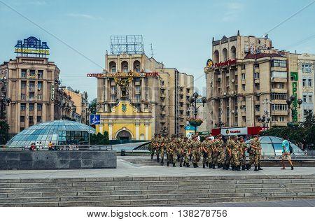 Kiev Ukraine - July 26 2015. Ukrainian soldiers walks on Independence Square in Kiev