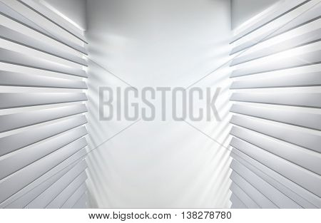 Sunlit windows with blinds. Vector illustration.