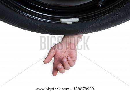 Mechanic Hand And Auto Wheel In Closeup