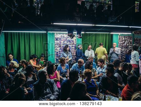 Barcelona Spain - May 23 2015. People wait for the Flamenco Show in club in Barcelona city
