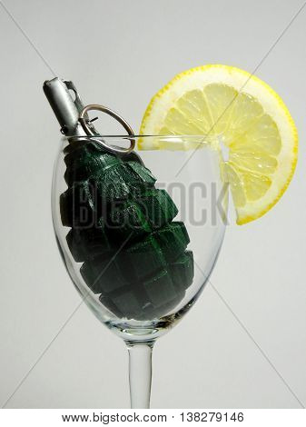 an explosive cocktail of manual fragmentation grenades and lemon slices