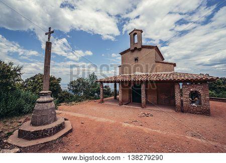 Montserrat Spain - May 25 2015. Small chapel of Sant Miquel near Santa Maria de Montserrat Abbey in Montserrat mountains