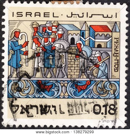 MOSCOW RUSSIA - JANUARY 2016: a post stamp printed in ISRAEL shows feast of Passover the exodus from Egypt the series