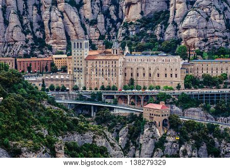 Montserrat Spain - May 25 2015. Aerial view on Santa Maria de Montserrat Abbey in Montserrat mountains
