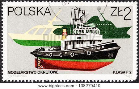 MOSCOW RUSSIA - CIRCA JANUARY 2016: a post stamp printed in POLAND shows a patrol boat Atlas the series