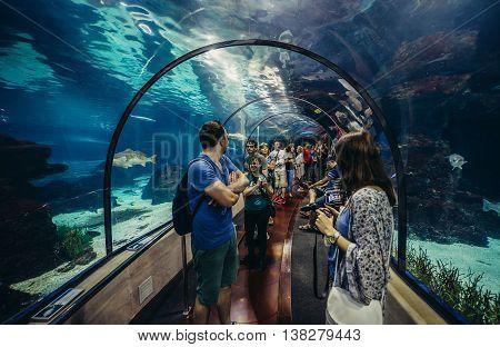 Barcelona Spain - May 26 2015. Tourists visits Barcelona Aquarium