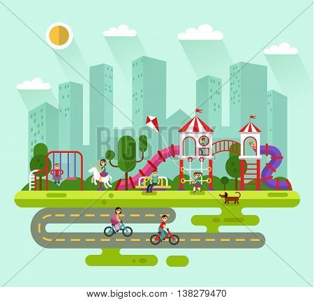 Flat design vector summer landscape illustration of city park with kids playground and equipment with swings, slides and tube. Cyclists, dog, bench, girl with kite. Amusement park for children.