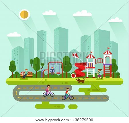Flat design vector summer landscape illustration of city park with kids playground and equipment with swings, slides and tube. Cyclists, dog, bench, road, girl with kite. Amusement park for children.