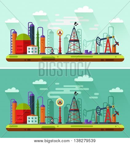 Flat design vector Day and Night illustration of oil extraction industry. Including rig, pumping station, storage, factory, petroleum refinery, smoke from the chimney, clouds.