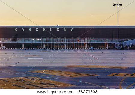 Barcelona Spain - May 28 2015. Terminal of Barcelona El Prat International Airport