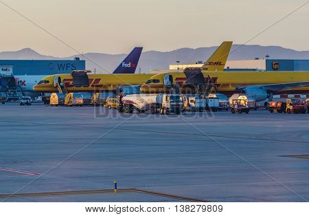 Barcelona Spain - May 28 2015. Cargo planes at Barcelona El Prat International Airport