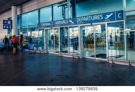 Prague Czech Republic - October 2 2015. Terminal 2 building at Vaclav Havel Airport Prague