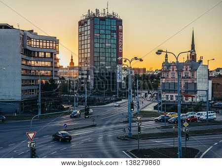 Pilsen Czech Republic - October 2 2015. View of Pilsen city. Police Headquarters and Business Center Bohemia on photo