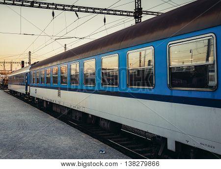 Pilsen Czech Republic - October 2 2015. Train at Main Railway Station in Pilsen (Plzen)