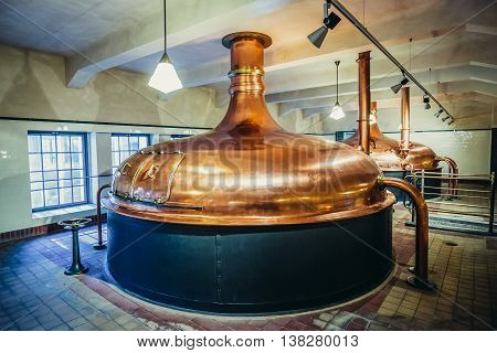 Pilsen Czech Republic - October 3 2015. Copper brewing tank in old brewhouse part of of Pilsner Urquell Brewery
