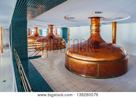 Pilsen Czech Republic - October 3 2015. Cooper tanks in new brewhouse of Pilsner Urquell Brewery