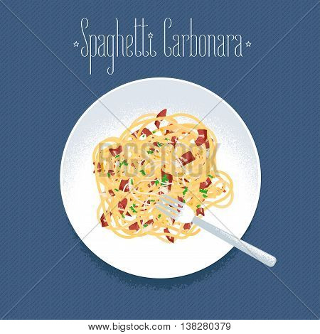 Spaghetti alla Carbonara Italian pasta vector design element for restaurant menu poster. Traditional Italian dish spagetti carbonara served for dinner illustration