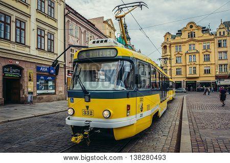 Pilsen Czech Republic - October 3 2015. Yellow tramcar at Republic Square in Pilsen (Plzen) city
