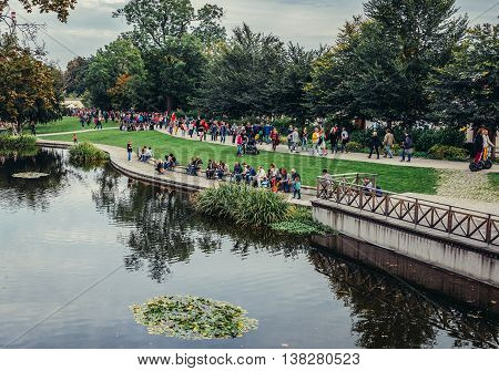 Pilsen Czech Republic - October 3 2015. People rests in small Mill Ditch park in Pilsen