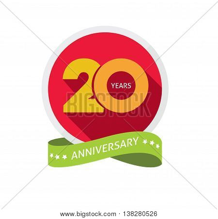 Twenty years anniversary logo, 20 year birthday sticker label, 20th years anniversary icon, birthday party symbol. Twentieth holiday badge ribbon, banner, poster, emblem tag