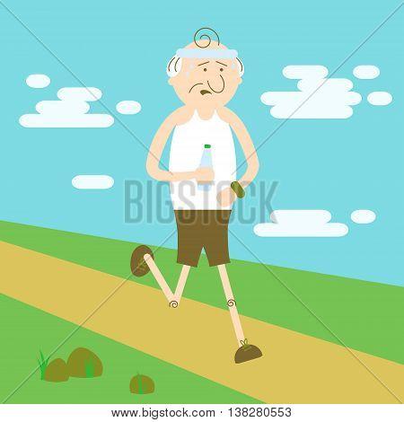 Elderly people in sports elderly man running
